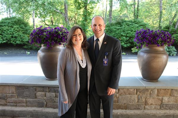 Pattie Steffens and Superintendent Bongiovi pose for a photo